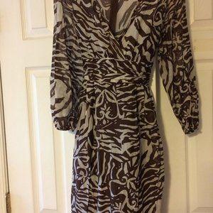 Teri Jon Brown White Zebra Print Dress